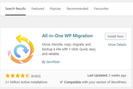 Install and activate All-in-One WP Migration